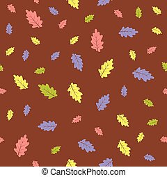 seamless pattern colorful autumn leaves on brown background
