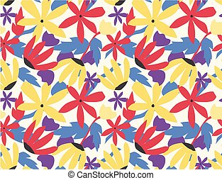 seamless pattern colorful flower pop art style