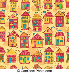 Seamless pattern colorful houses