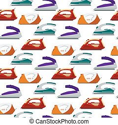 Seamless pattern colorful irons - vector illustration. Flat electrical equipment, ironing electric appliance, home device, housework tool