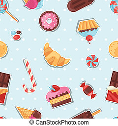 Seamless pattern colorful sticker candy, sweets and cakes.