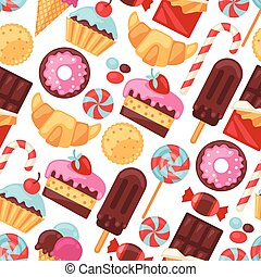 Seamless pattern colorful various candy, sweets and cakes.