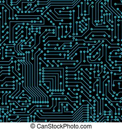 Seamless pattern. Computer circuit board. - Computer circuit...
