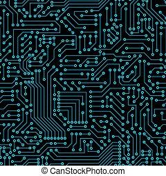 seamless, pattern., computer strømkreds, board.