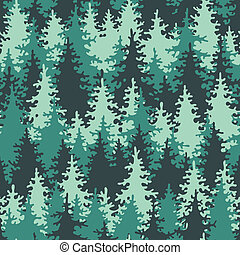 Seamless pattern coniferous forest - Illustration coniferous...