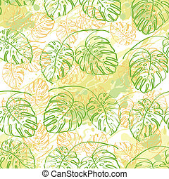 Seamless pattern, contour leaves