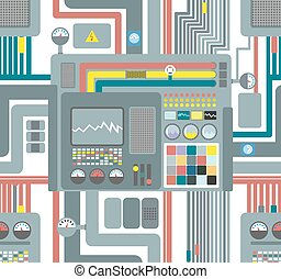 Seamless pattern control system. Technological background. Vector ornament factory machines.