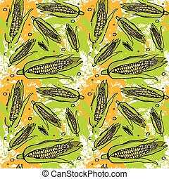 Seamless Pattern Corn Vegetables Ornament Background