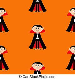 Seamless Pattern Count Dracula. Cute cartoon vampire character with fangs. Happy Halloween texture. Flat design. Orange background.