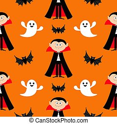 Seamless Pattern Count Dracula, flying bat, ghost spirit . Cute cartoon vampire character with fangs. Happy Halloween texture. Flat design. Orange background.