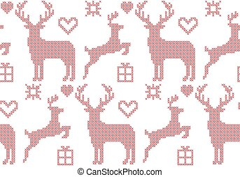 Seamless pattern cross stitch reindeer Christmas