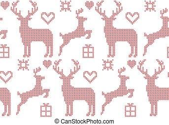 Seamless pattern cross stitch reindeer Christmas