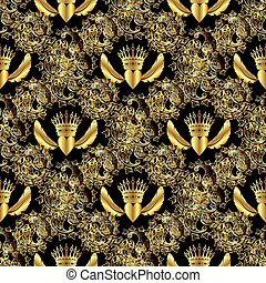 Seamless pattern crown and heart