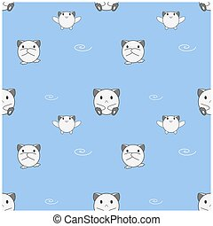 Seamless pattern, cute baby animals on blue background, vector illustration