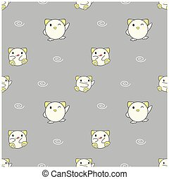 Seamless pattern, cute baby animals on gray background, vector illustration