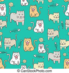 Seamless pattern Cute cat cartoon with hand drawn style