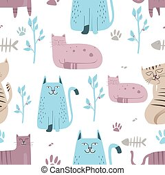 Seamless pattern Cute cat with hand drawn cartoon