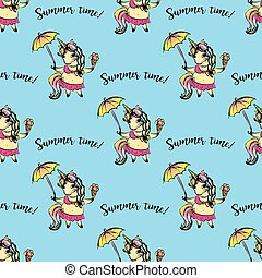 Seamless pattern Cute girl unicorn