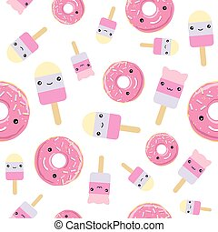 Seamless pattern. cute kawaii styled ice cream and pink...