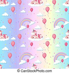 Seamless pattern cute unicorn with rainbow and balloon
