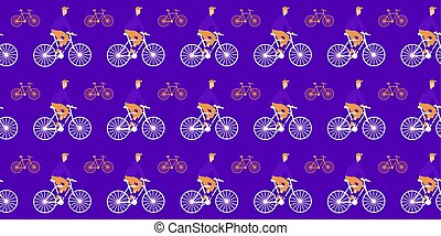 Seamless pattern. Cyclists and bicycles on a purple background. Vector.