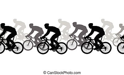 Seamless pattern. Cyclists silhouettes, competition.
