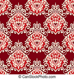 Seamless pattern damask floral red vector