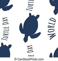 Seamless pattern dark blue silhouette of turtle and text - world turtle day