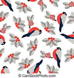 Seamless pattern decoration of red bullfinch bird and rowan...