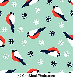 Seamless pattern decoration of red bullfinch bird and ...
