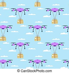 Seamless pattern. Delivery of the package on the drone. quadrocopters fly through the sky with clouds with a box. Vector