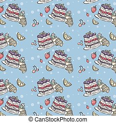 Seamless pattern depicting fruit and blueberry pie