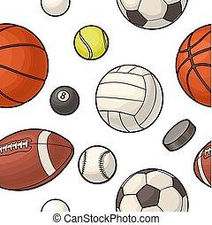 Seamless pattern different kinds sport balls. Color vector flat illustration