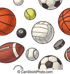 Seamless pattern different kinds sport balls. Vintage color vector engraving