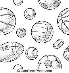 Seamless pattern different kinds sport balls. Vintage vector engraving