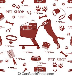 Seamless pattern: dog, bowl, shopping cart with gift bags, traces, bone, brush, collar, first aid kit.