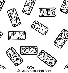 Seamless pattern. Dominoes tile games. Apparel print design scratch
