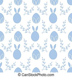 Seamless pattern. Easter Bunny ears, eggs, willow.