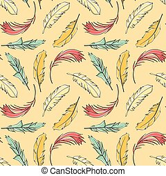 Seamless pattern Easter feathers