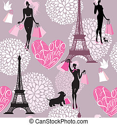 Seamless pattern - Effel Tower, hearts with calligraphic...