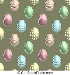 Seamless pattern eggs with pattern in 3D