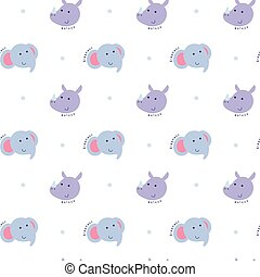 Seamless pattern elephant and rhino