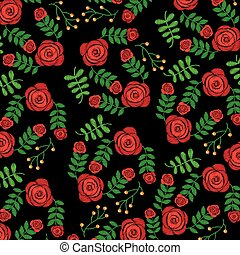 seamless pattern embroidery fashion roses flower print design