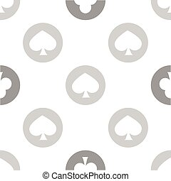 seamless pattern. EPS 10 vector illustration. used for printing, websites, design, interior, fabrics, etc. monochrome shovel in the circle line poker calm color white and gray