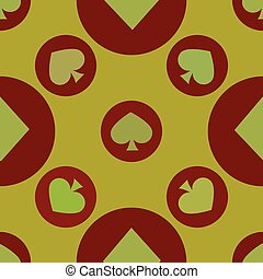 seamless pattern. EPS 10 vector illustration. used for printing, websites, design, interior, fabrics, etc. card spade suit on a red circle yellow background