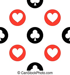 seamless pattern. EPS 10 vector illustration. used for printing, websites, design, interior, fabrics, etc. white hearts and clubs on a black red bowl background