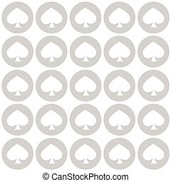 seamless pattern. EPS 10 vector illustration. used for printing, websites, design, interior, fabrics, etc. White spade suit in gray circle poker straight line up
