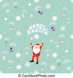 seamless pattern. EPS 10 vector illustration. used for printing, websites, design, ukrasheniayya, interior, fabrics, etc. Christmas theme. Santa Claus on a parachute flying through the sky with the elves