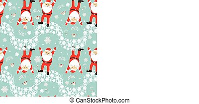 seamless pattern. EPS 10 vector illustration. used for printing, websites, design, ukrasheniayya, interior, fabrics, etc. Christmas theme. Santa Claus on a parachute flying across the sky upside down