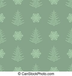 seamless pattern. EPS 10 vector illustration. used for printing, websites, design, ukrasheniayya, interior, fabrics, etc. Christmas theme. tree from snowflakes on a dark green background